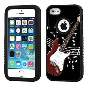 One Tough Shield ? 3-Layer Hybrid Case (Black/Black) for Apple iPhone 5C - (Electric Guitar Red) by lolosakes