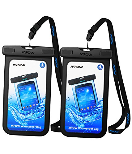 Price comparison product image Mpow Universal Waterproof Case, New Type PVC Waterproof Pouch for Outdoor Sports with IPX8 Certified for iPhone, Samsung, Google Pixel, HTC, LG, Huawei [2-PACK]
