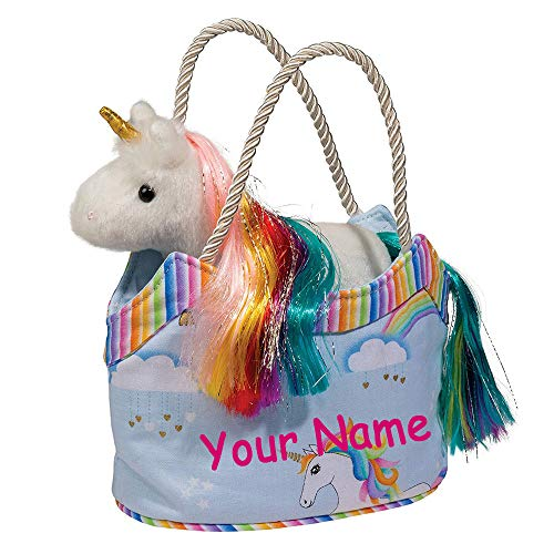 Douglas Personalized Rainbow Sky Unicorn Sassy Kidz Fashion Pet Sak Stuffed Animal Toy with Tote Bag -