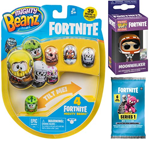 (Fortnite Drop Pack Gamer Series Moonwalker Mini Figure Backpack Hanger Pop! Keychain Bundled Trading Action Cards Pack & Mighty Flip Bean Gear 3 Items)