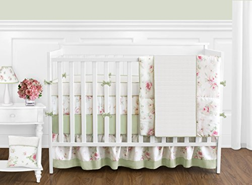 Sweet Jojo Designs 9-Piece Riley's Roses Pink and Sage Green Shabby Chic Floral Baby Girl Flower Bedding Crib - Chenille Boutique Baby Girl