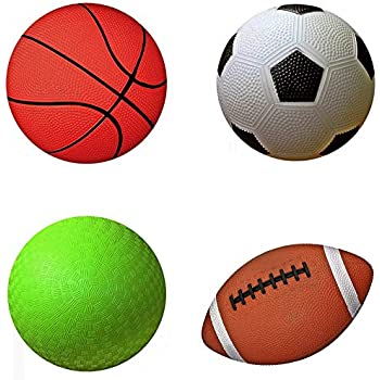 "Move-It Designed by Parents Pack of 3 Kids Sports Balls Set Designed for Extended Play with /""Playbook/"" Soccer Ball Kids Sports Kids Exercise Basketball Football Toddlers Ball Set"