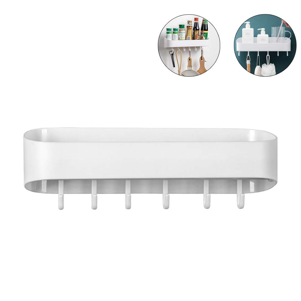 Plastic No Drilling Removable Bathroom Wall Shelf Self Adhesive With Hooks Design Wall Mounted for Kitchen Bedroom Toilet by Lin-Tong
