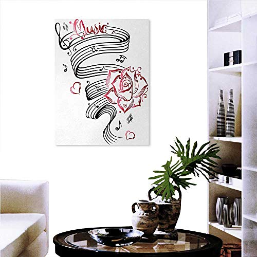as Print Wall Art Bliss Buds Language of Love Valentines Musical Inspiration on Sheet with Rose Hearts Wall Board Sticker 24