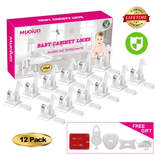 cabinet locks child safety, child cabinet locks,Baby Safety Cabinet Locks,【Invisible Design】baby proofing cabinets,No Tools and No Drilling Needed child drawer locks,【12 Packs】white