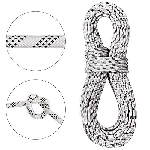 Mophorn Dynamic Climbing Rope 9.5mm 10.5mm 12mm Robust Nylon Rock Climbing Rope White with Black Outdoor Rock Climbing Rope for Rock Climbing (9.5mm, 70)