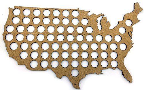 USA Beer Cap Map - 23x14 inches - 70 caps (Tree Guy)