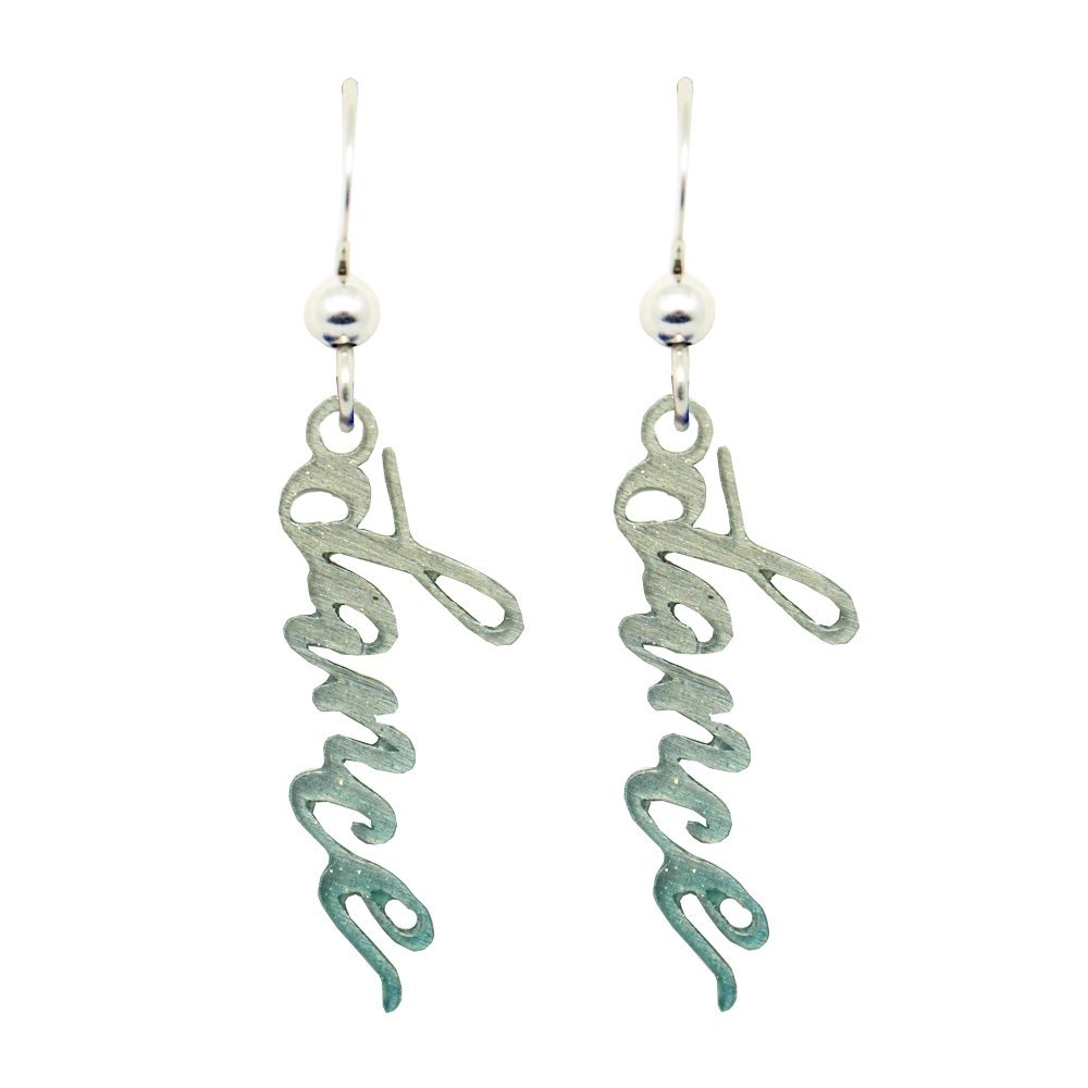 Dance Teal Ombre Earrings by d'ears Non-Tarnish Sterling Silver French Hook Ear Wire