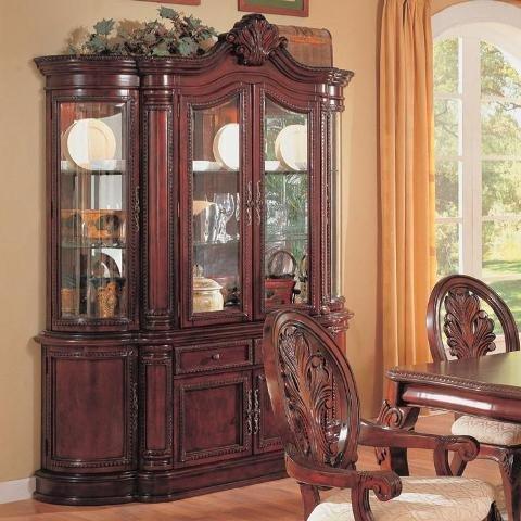Amazon.com   China Cabinet Buffet Hutch Traditional English Style Cherry  Finish   China Cabinets