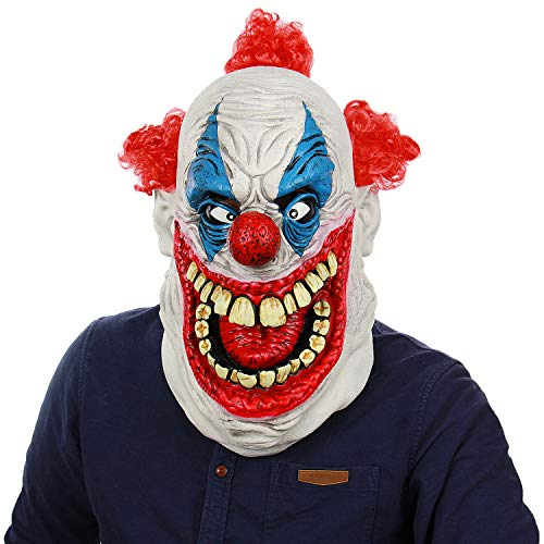 Scary Demon Clown Latex Head Mask Halloween Deluxe Big Mouth Joker Masks Christmas Costume Party Cosplay - Joker Deluxe Latex
