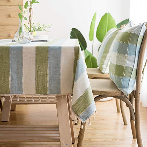 LINENLUX Striped Cotton Linen Tablecloth/Table Cover with Tassel Blue Green Square/Round 55 X 55 in ()