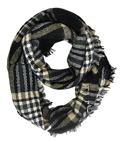 Le Nom Classic Plaid Check Pattern Infinity Scarf (Gingham Black)