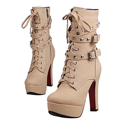 AIYOUMEI Damen Blockabsatz Stiefeletten mit Nieten und Schnalle Plateau Winter Reißverschluss Kurzschaft Stiefel Aprikose