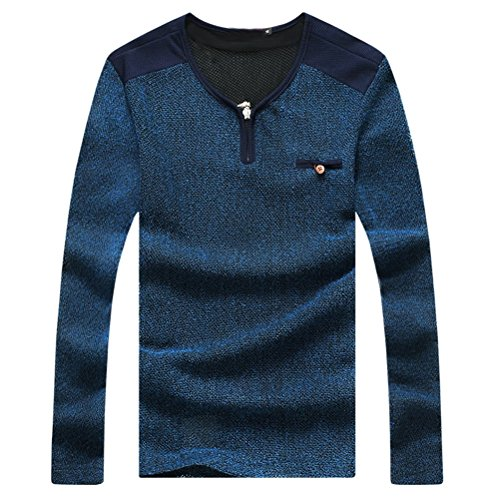 Zhhlaixing Clásico Autumn Mens V Neck T-Shirts Tees Long Sleeve Tops Special Plus Size Blue