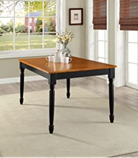 NEW Gardens Autumn Lane Farmhouse Dining Table, Black and Oak