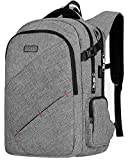 Business Laptop Backpack, Travel Laptop Backpack Bag for Womens & Mens with USB Charging & Headphone Port, Durable Anti-Theft Water Resistant Collage School Daypack 15.6 Inch Computer Rucksack - Grey