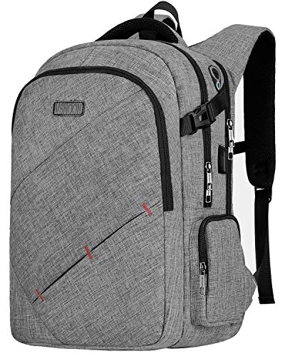 Laptop Backpack, 15.6 Inch TSA Friendly Business Travel Anti-Theft Laptop Backpack for Women & Men College School with USB Charging Port -Grey