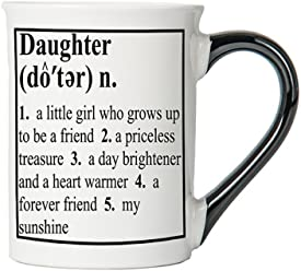 Tumbleweed - Daughter Mug - Large 18 Ounce White Ceramic Coffee Cup With Black Handle - Daughter Coffee Mug - Daughter Gifts