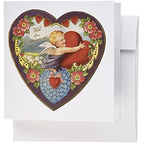 3dRose Heart Shaped Victorian Valentine With Cupid Hugging a Red Heart - Greeting Cards, 6 x 6 inches, set of Sales