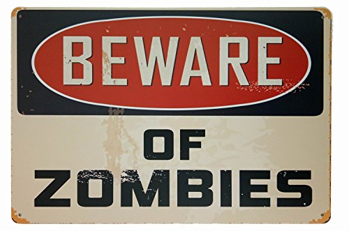 ERLOOD Beware of Zombies, Metal Tin Sign, Retro Vintage Tin Sign 12