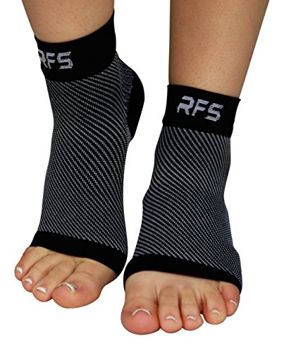 Plantar Fasciitis Foot Compression Sleeves for Injury Rehab & Joint Pain. Best Ankle Brace - Instant Relief & Support for Achilles Tendonitis, Fallen Arch, Heel Spurs, Swelling & Fatigue (BLK, LRG) by Run Forever Sports