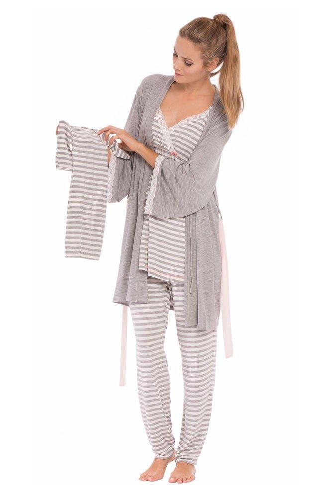 Olian Maternity Anne 4-Piece Nursing PJ Set with Baby Outfit - XS - Grey Stripes