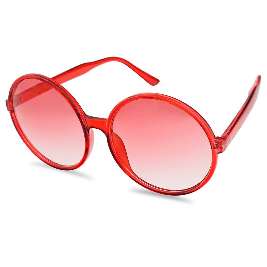 SunglassUP Round Two Tone Color Tinted Large Circular Festival Sunglasses Plastic Frame (Red Frame | Red Gradient) by SunglassUP