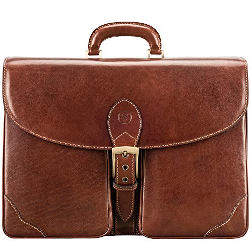 - Maxwell Scott Luxury Italian Men's Leather Briefcase - Tomacelli3 Tan