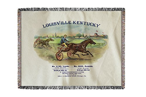 Louisville, Kentucky - Fleetwood Brand Cigar Box Label - Horse Racing (60x80 Woven Chenille Yarn Blanket)