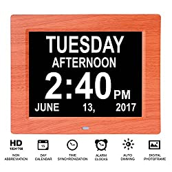 Beslong 8 Alarms Dementia Day Clock Digital Calendar for Elderly with Alzheimers Memory Loss or Visual Impairment (8 Inch,Wood Frame)