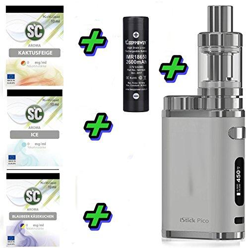 E-Zigarette SC by Eleaf Pico Silber iStick 75W Starterset 2600mAh | TC Temperaturregelung | mit SC Liquids – 00mg…