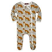 Milkbarn Organic Cotton Footed Sleeper (0-3 months, Orange Fox)
