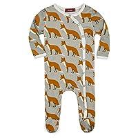 Milkbarn Organic Cotton Footed Sleeper (3-6 months, Orange Fox)