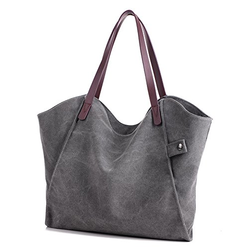 ZhmThs Canvas Shoulder Bag Casual Big Shoppingbags Tote Handbag Work Bag Travel Bags for Women Girls Ladies by ZhmThs (Image #2)