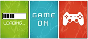 Video Game Art Print Colorful Gaming Themed Canvas Wall Art Perfect for Kids Boy Bedroom Decor Ready To Hang (Game-1, 12x16inch)