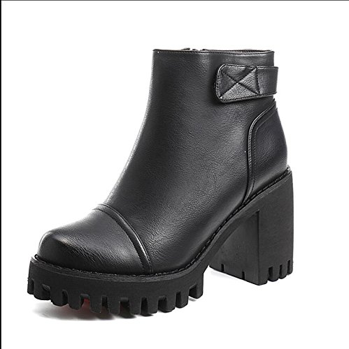 KHSKX-The Thick Black With Short Boots Winter New Korean Version Of The Round Head Waterproof Taiwan High-Heeled Boots 9Cm Female Side Zipper Martin Boots 38 XMbXLJ