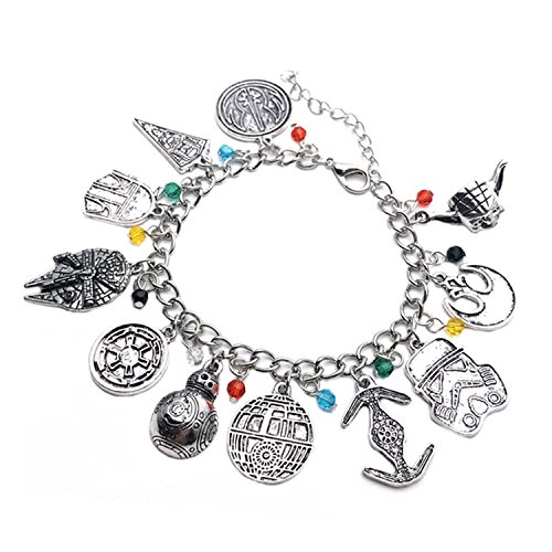 Star Wars 7 ( 11 Themed Charms) Silvertone Metal Charm Bracelet