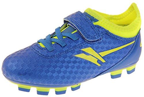 Gola Activo 5 Niños Zapatos de Fútbol de Césped Artificial Azul y Volt (Amarillo)