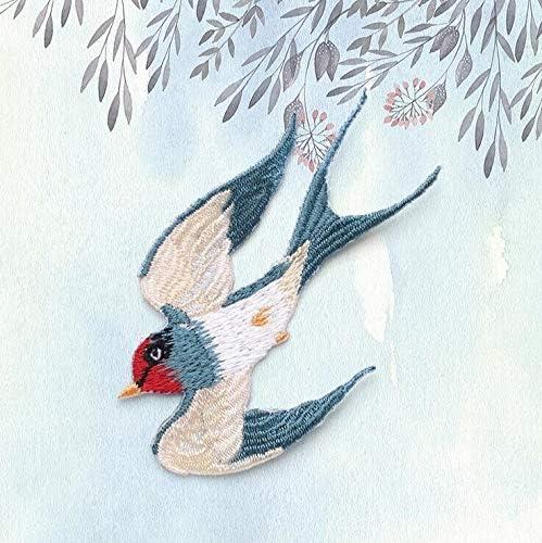 JPDD コートジーンズドレスかわいい飛ぶ鳥パッチの刺繍スワローズのパッチアイアン上のパッチアクセサリー1個 (Color : Style A)
