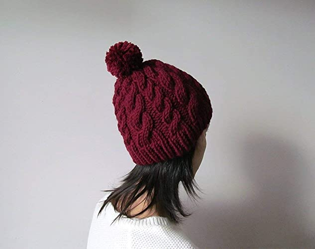 2e1156654be016 Amazon.com: Hand Knitted Cable Chunky Beanie in Burgundy, Womens Pom Pom Hat,  Marsala Hat with Pom Pom, Wool Blend, Winter Fall Accesories: Handmade