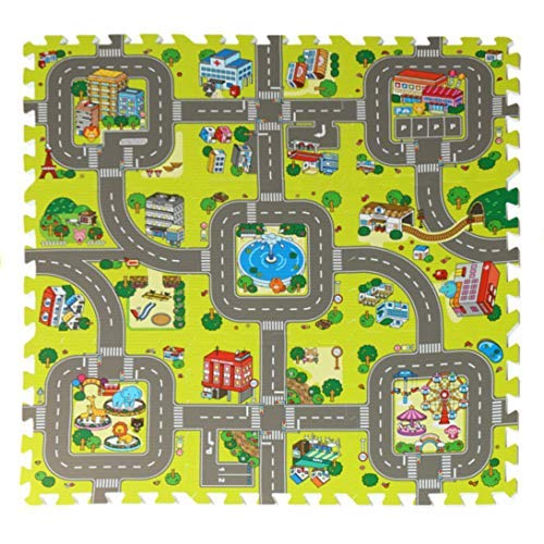 (feet'sbook Traffic Play Mat Children Education Playmat Baby Kids Puzzle Gym Exercise Protect Flooring,Eva Foam Interlocking Squares Tiles)