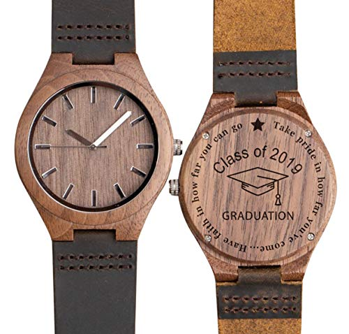 Class of 2019 Graduation Gift for Him Son Engraved Wooden Watch College/High School Graduation Party Gifts from Dad Mom to Son | Boy - Walnut