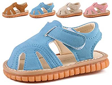 CINDEAR Squeaky Pu Leather Closed-Toe Sandals for Toddler Boy Girl Rubber Sole Anti-Slip Slippers Shoes Blue Size: 3.5 Infant