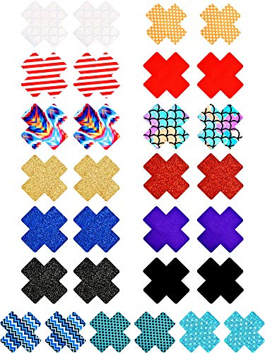 Pasties Set - 15 Pairs Cross Nipple Cover Disposable Breast Covers Self-adhesive Pasties Stickers for Women Girls, Style Set 2