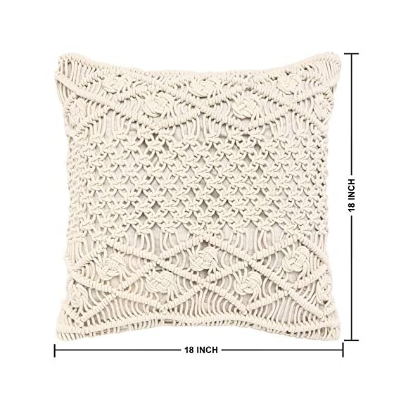 """REDEARTH Macrame Throw Pillow Cushion Covers-Woven Decorative Farmhouse Square Cases Set for Couch, Sofa, Bed, Farmhouse, Chair, Dining, Patio, Outdoor, car; 100% Cotton (18x18; Natural) Pack of 2 - 100% Cotton; 18 x 18 Inch / 45 x 45cm (1-1.5 cm deviation) Set of 2 decorative cushion covers. They fit perfectly on 18""""x18"""" pillow inserts/fillers. For a fuller and plump look, 20x""""20"""" filler can be used. PILLOW INSERTS ARE NOT INCLUDED. The bohemian throw pillow cases are made up of hand knotted macrame in the front and cotton canvas at the back. These cushion covers can add a touch of elegance to any kind of décor and living space. Hidden zipper used for seamless look and durability; the product is tested for shrinkage, color fastness and seam slippage - patio, outdoor-throw-pillows, outdoor-decor - 51BpuI6L0nL. SS570  -"""