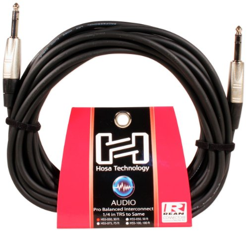 Hosa HSS-030 Pro Balanced Interconnect, REAN 1/4 in TRS to Same, 30 - Speaker Cable 30' Hosa