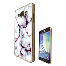 c00803 - Cool Bloggers Favourite White Marble Effect Design Samsung Galaxy A5 A500M - 2015 Fashion Trend CASE Gold & Clear Gel Rubber Silicone All Edges Protection Case Cover