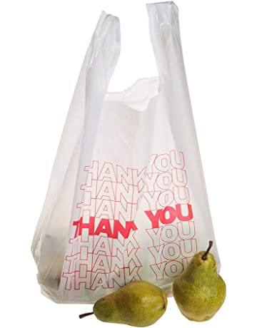 TashiBox Shopping Bags Thank You Bags Reusable and Disposable Grocery Bags  - Measures 11.5 26f06f8b05