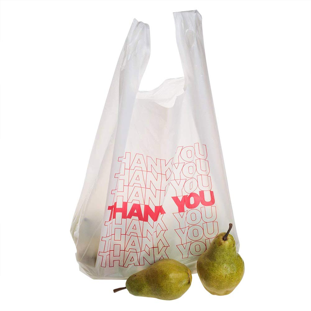"TashiBox Thank You Bags Reusable Grocery Bags - Measures 11.5"" X 6.25"" X 21"", 15mic, 0.6 Mil - 308 Count"