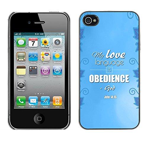 DREAMCASE Citation de Bible Coque de Protection Image Rigide Etui solide Housse T¨¦l¨¦phone Case Pour APPLE IPHONE 4 / 4S - MY LOVE LANGUAGE IS OBEDIENCE - JOHN 14:15